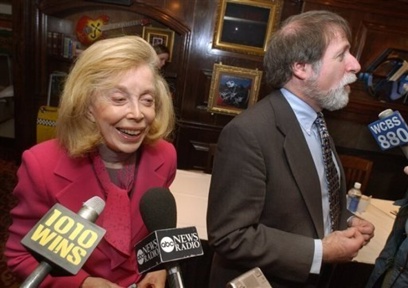 "FILE - In this Jan. 16, 2004 file photo, psychologist Dr. Joyce Brothers, left, and Bruce Spizer, author of ""The Beatles are Coming,"" are interviewed at a news conference in New York. Brothers died Monday, May 13, 2013, in New York City, according to publicist Sanford Brokaw. She was 85. (AP Photo/"