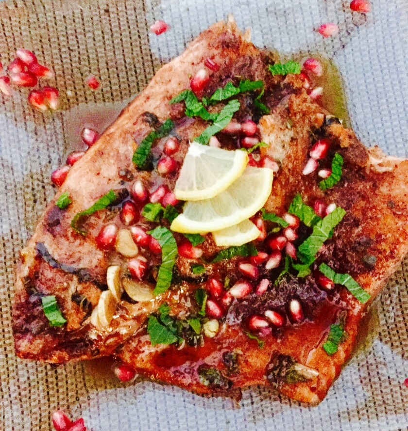Pomegranate and mint baked salmon