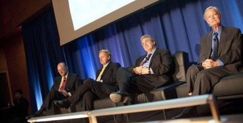Panelists listen to the presentations. Photo: Erik Jepsen/UCSD