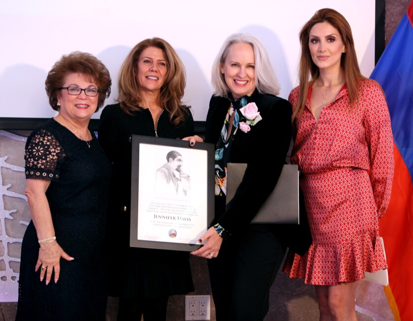 Clark Magnet High School teacher Jennifer Davis, second from right, won the Armenian Genocide Education Award at the annual Armenian Genocide Education Awards Luncheon, in Burbank on Saturday, March 7. Left to right are Alice Petrossian, Hermineh Pakhanians, Davis and Ellina Abovian.