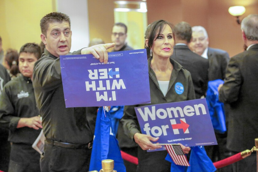 Voters wait to caucus for Hillary Clinton in Las Vegas