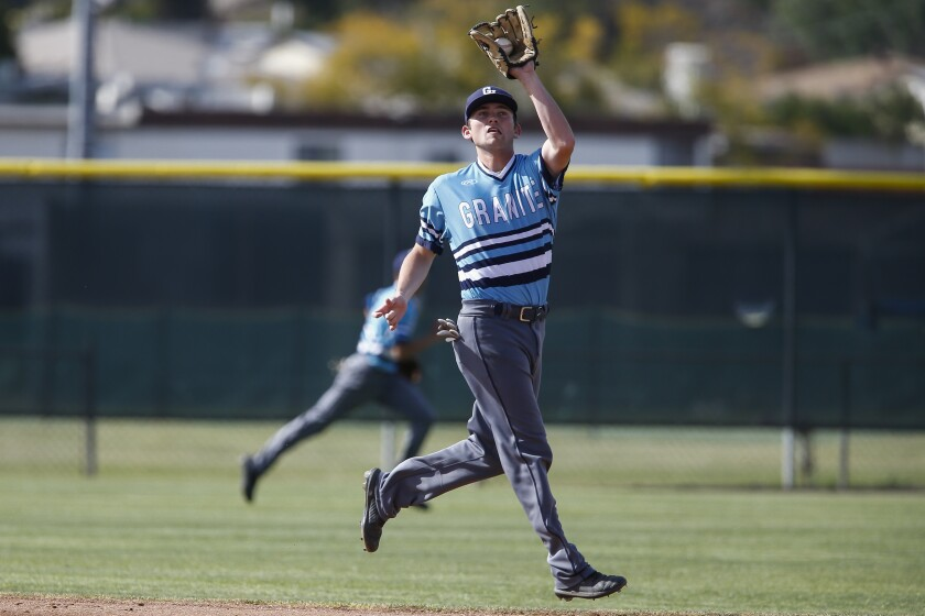Granite Hills shortstop TK Parker makes a grab in the first inning against Helix.