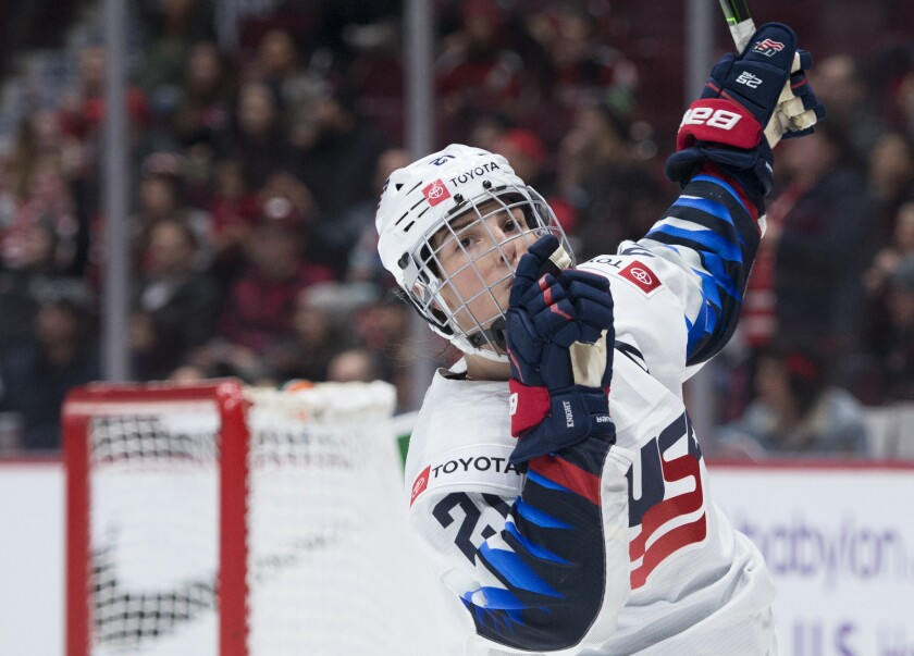 United States' Hilary Knight celebrates her goal against Canada during the third period of a Rivalry Series hockey game in Vancouver, British Columbia, Wednesday, Feb. 5, 2020. (Jonathan Hayward/The Canadian Press via AP)