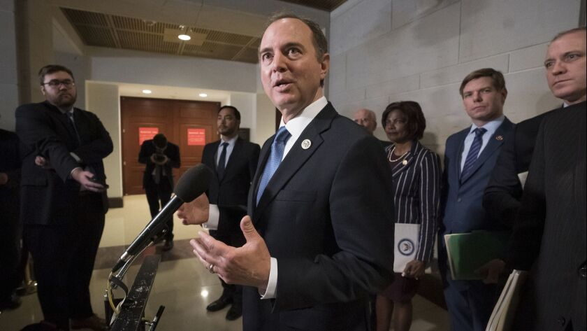 Rep. Adam Schiff, chairman of the House Intelligence Committee, talks to reporters after a day of interviewing Michael Cohen, President Donald Trump's former lawyer, on Feb. 28.