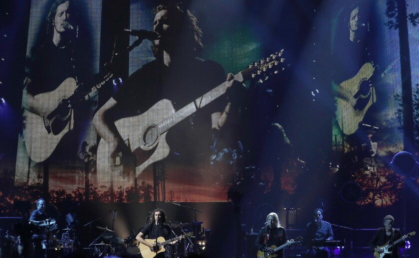 INGLEWOOD, CALIF.. - SEP. 12, 2018. Deacon Frey, the son of the late Glenn Frey, performs with the