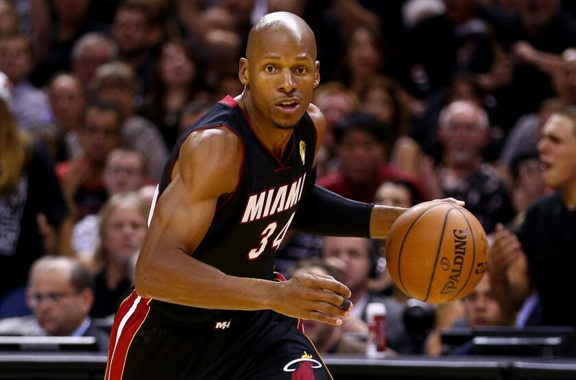 Miami's Ray Allen drives to the basket during Game 5 of the NBA Finals in June. Allen has not decided if he will return for a 19th NBA season.