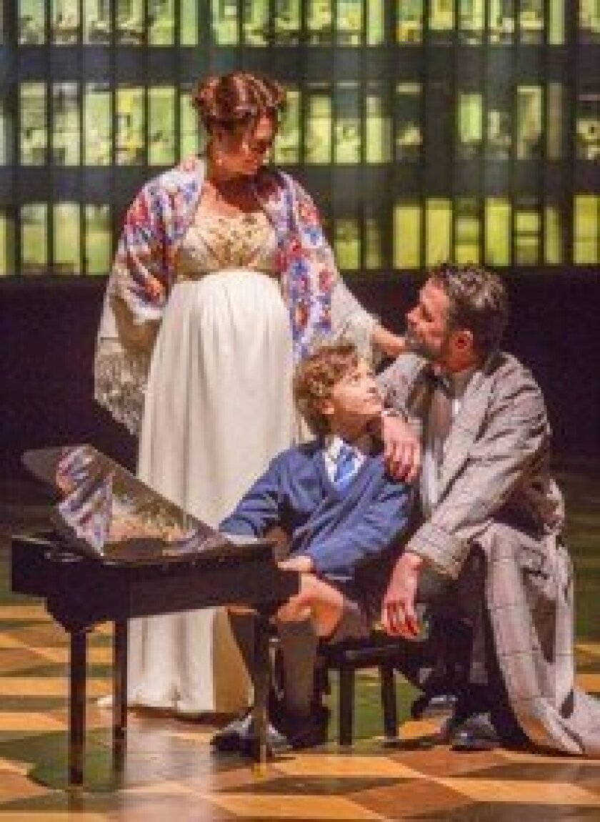 Hermione (Natacha Roi), Mamillius  (Jordi Bertran) and Leontes (Billy Campbell) share a short-lived harmony in Shakespeare's 'The Winter's Tale.'  Jim Cox