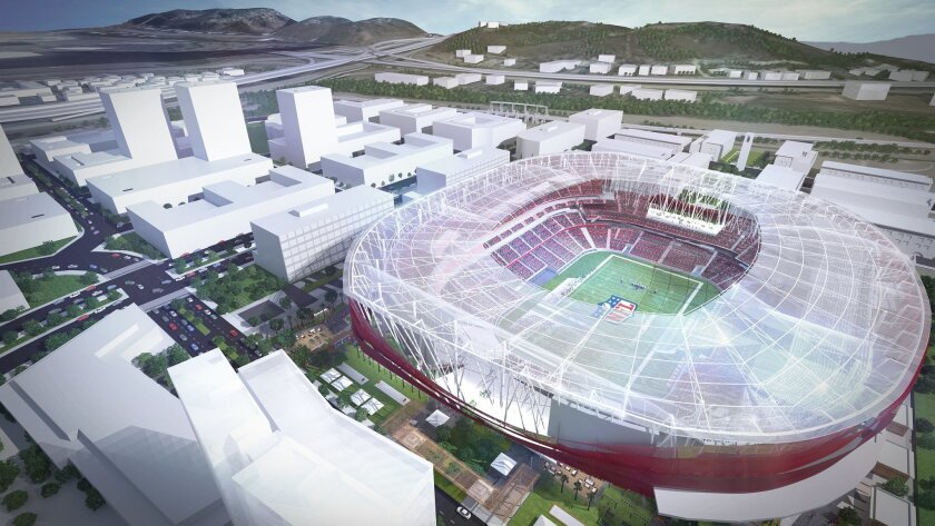 Aerial view of proposed SDSU multi-use stadium in Mission Valley.