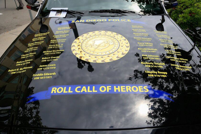 The names of all San Diego Police Department Officers who have been killed in the line of duty since 1913 are inscribed on a police vehicle parked in front of the San Diego Police Headquarters during a memorial ceremony.