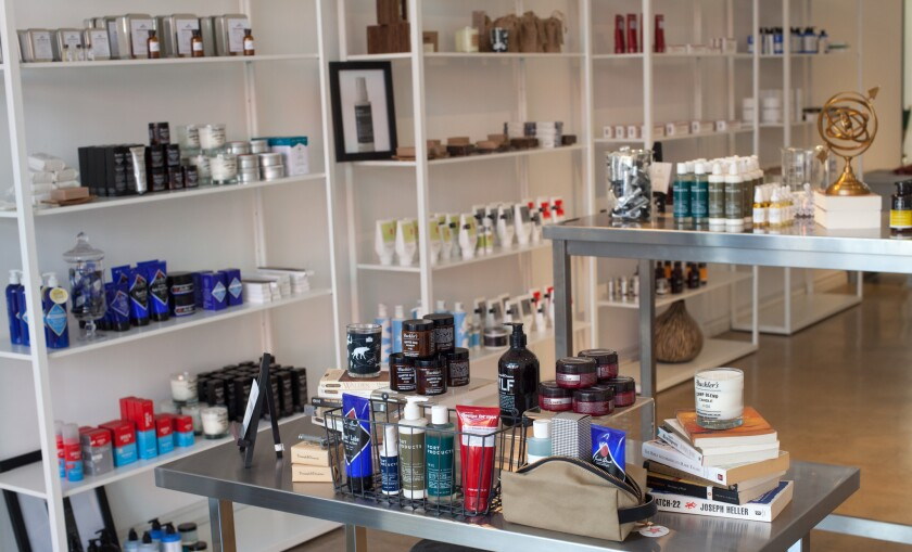 The interior of men's grooming e-tailer the Motley's first bricks-and-mortar shop, which will be open for business at 8366 1/2 W. 3rd St. in L.A. from Jan. 11 to Feb. 16.