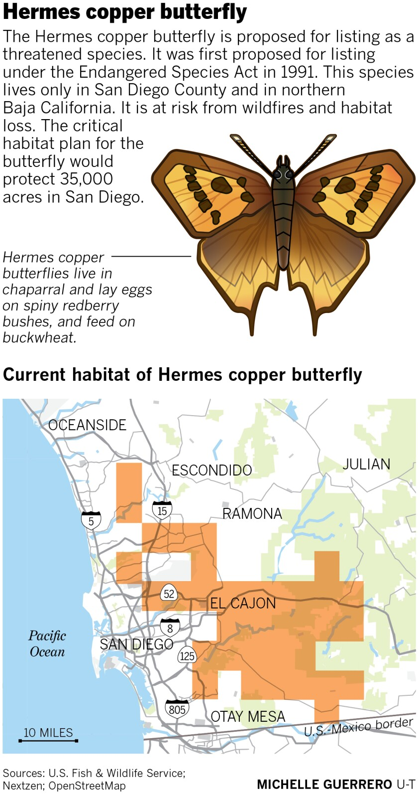 Map of current habitat of Hermes copper butterly