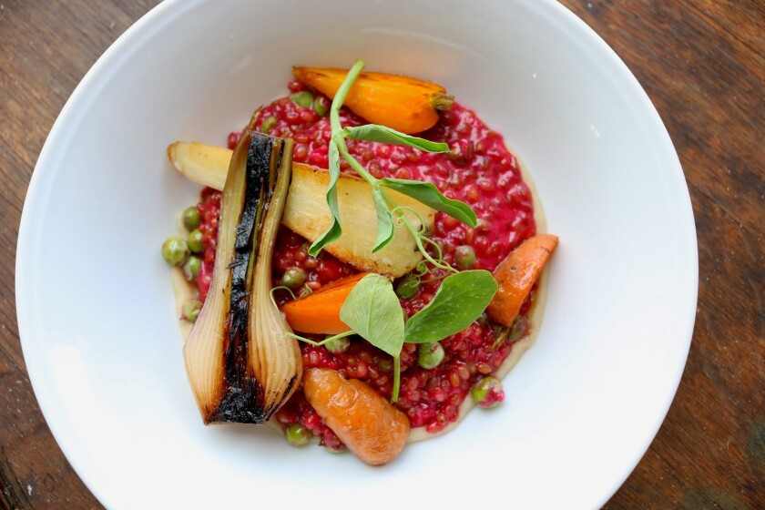 Wheat Berry Risotto from Tasting Room Del Mar is an ideal pick for a meat-free dish (Courtesy photo)