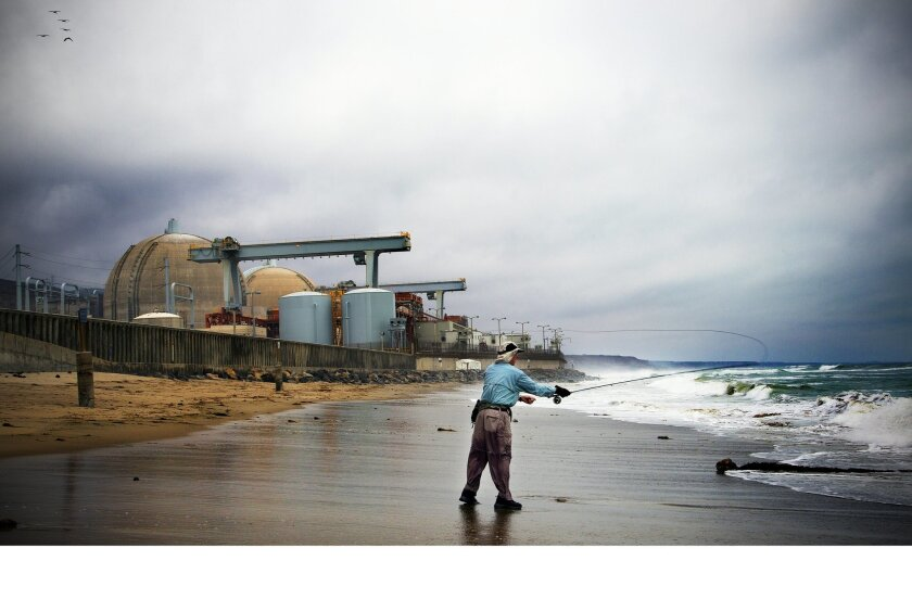 Richard Johnson of Hunting Beach spends his Friday afternoon fishing off the beach near the San Onofre Power Plant.  The San Onofre Power Plant near Camp Pendleton announced that it will close the power plant down.