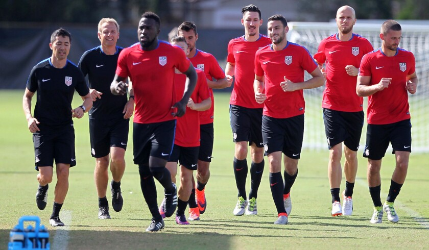 Members of U.S. national soccer team practice last month at Buccaneer Field in Miami Shores, Fla., before leaving for Cuba for a match.