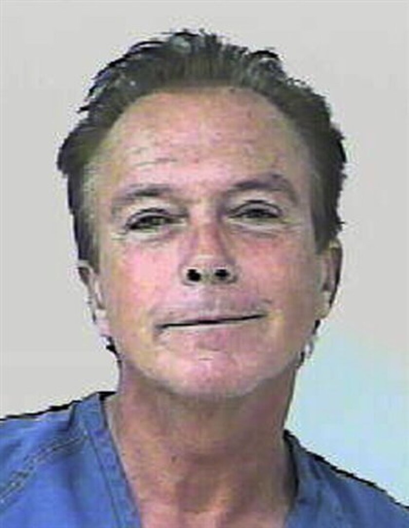 """In this undated photo provided by the Florida Highway Patrol, former """"Partridge Family"""" heartthrob David Cassidy is shown. According to the Florida Highway Patrol, Cassidy's car was stopped around 6 p.m. Wednesday, Nov. 3, 2010, on the Florida Turnpike for weaving and nearly causing an accident. The FHP report states that Cassidy failed a field sobriety test, and breath tests at the St. Lucie County jail showed his blood-alcohol content at 0.139 and 0.141, above Florida's legal limit of 0.08. (AP Photo/Florida Highway Patrol)"""