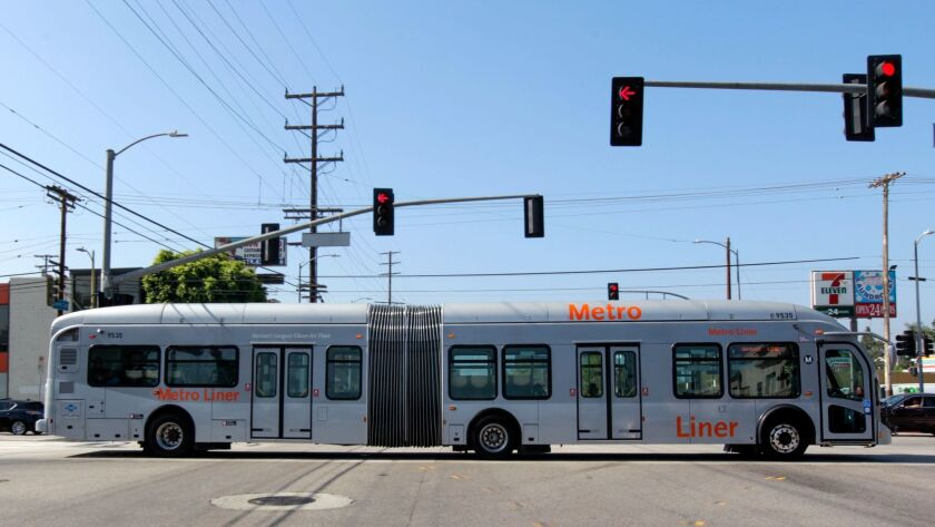 The Metro Orange Line bus near North Hollywood station in Los Angeles on July 20, 2017.