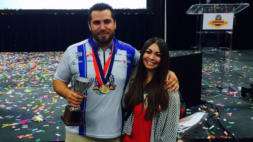 Two years ago, San Diegan Joel Martinez, shown here with his wife, Rachel, placed third in a nationa