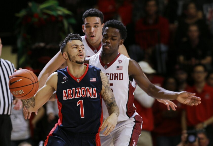 Arizona guard Gabe York (1) dribbles next to Stanford guard Marcus Allen during the second half of an NCAA college basketball game Thursday, Jan. 21, 2016, in Stanford, Calif. Arizona won 71-57. (AP Photo/Marcio Jose Sanchez)