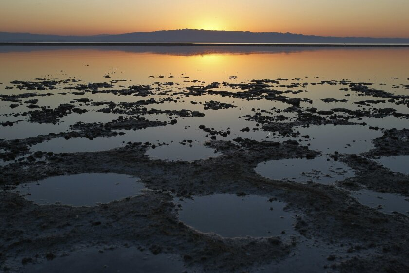 Sunrise over the Salton Sea. California's largest lake is drying up.
