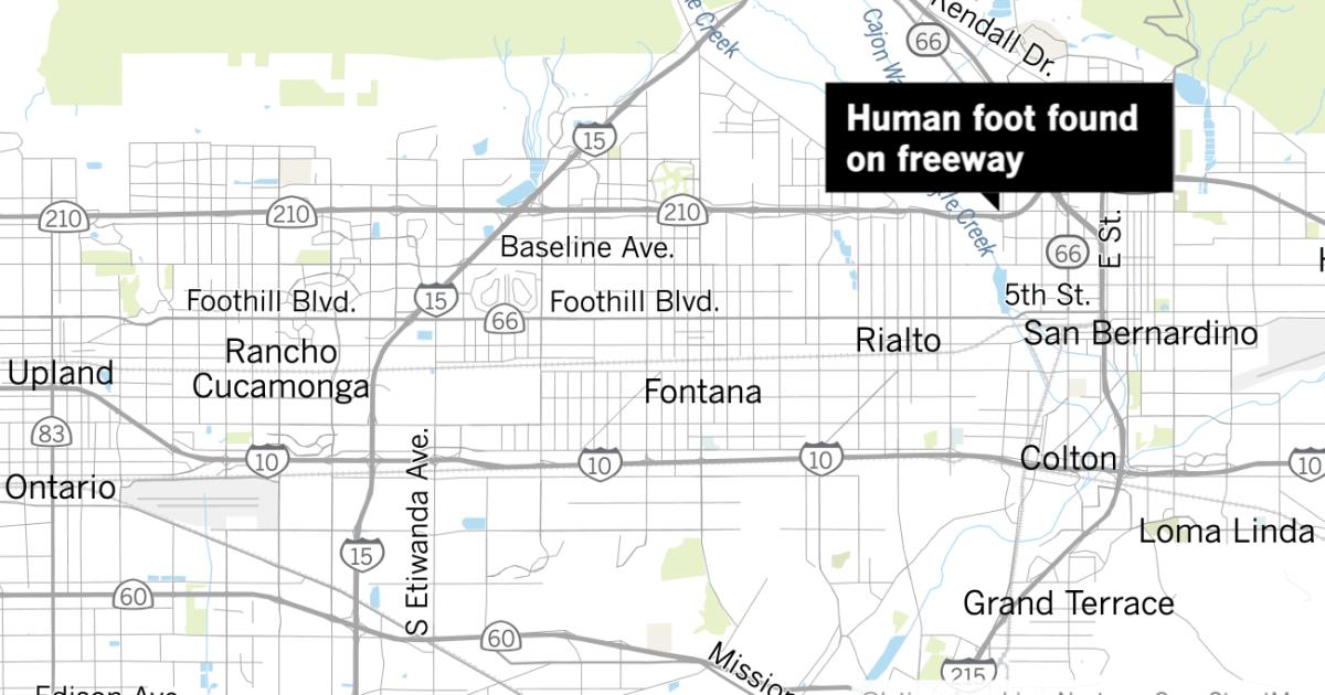 Human foot found in median of 210 Freeway in San Bernardino, Swahili Post