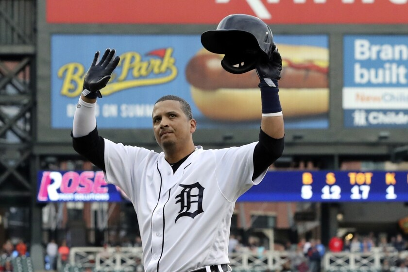 FILE - In this Sept. 22, 2018, file photo, Detroit Tigers designated hitter Victor Martinez acknowledges the fans after hitting a single against the Kansas City Royals in a baseball game in Detroit. The former five-time All-Star baseball player paid $6,000 to nominate King Guillermo to the Triple Crown series. King Guillermo won the Tampa Bay Derby at 49-1 odds last weekend. (AP Photo/Carlos Osorio, File)