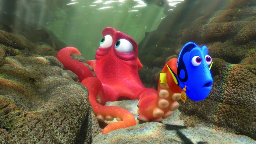 "Ed O'Neill as the voice of Hank and Ellen DeGeneres as the voice of Dory in ""Finding Dory""."