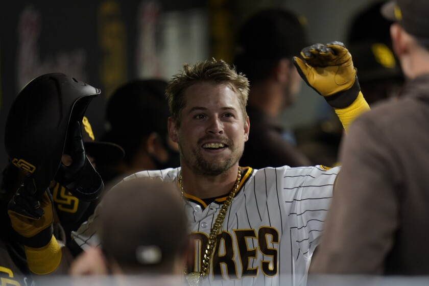 The Padres' Brian O'Grady reacts after hitting a two-run home run