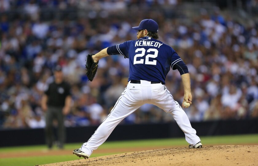 Padres starting pitcher Ian Kennedy pitches to the Los Angeles Dodgers in the first inning of a baseball game Saturday, Aug. 30, 2014, in San Diego.