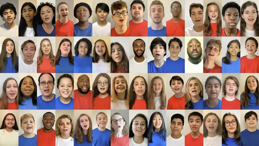In this image from video, people from across the U.S. sing the National Anthem during the first night of the Democratic National Convention on Monday, Aug. 17, 2020. (Democratic National Convention via AP)