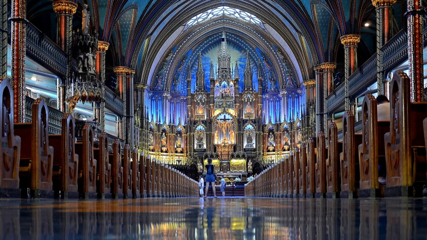 The Notre-Dame Basilica of Montreal, a Gothic Revival landmark in the city's oldest quarter, was mostly completed in 1830. But its twin towers weren't done until the 1840s. And the interior we see now was done in the late 19th century, inspired by the blue and gold hues of the Sainte-Chapelle in Paris.