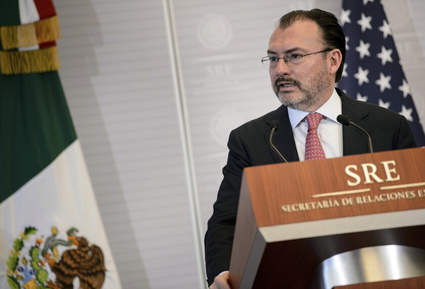 FILE - In this Oct. 19, 2018 file photo, Mexico's Foreign Minister Luis Videgaray gives a press conference at the Ministry of Foreign Affairs with Secretary of State Mike Pompeo, not shown, in Mexico City. Mexico announced Tuesday, June 8, 2021, it has barred the former Treasury and Foreign Relations Secretary from holding public office there for 10 years, after finding he failed to accurately report his holdings, income, or properties between late 2012 and 2016. (Brendan Smialowski/Pool Image via AP, File)