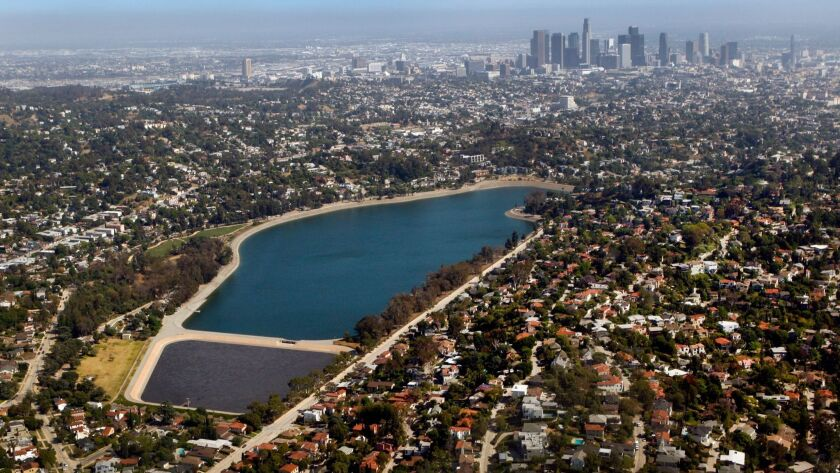 An aerial view of Silver Lake Reservoir with the smaller Ivanhoe Reservoir in the foreground.