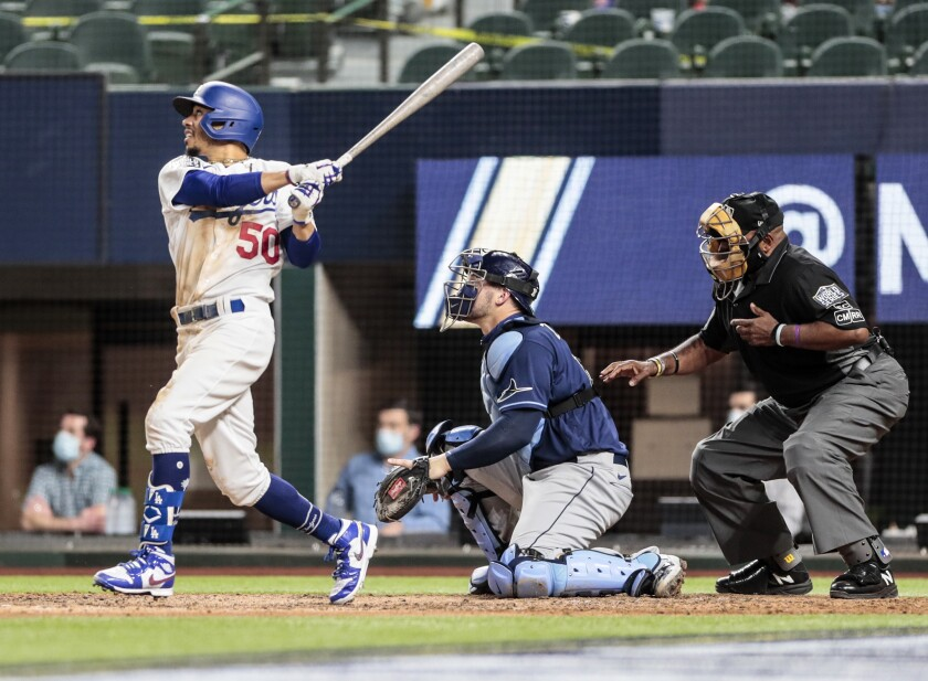 Dodgers right fielder Mookie Betts homers against Tampa Bay Rays.