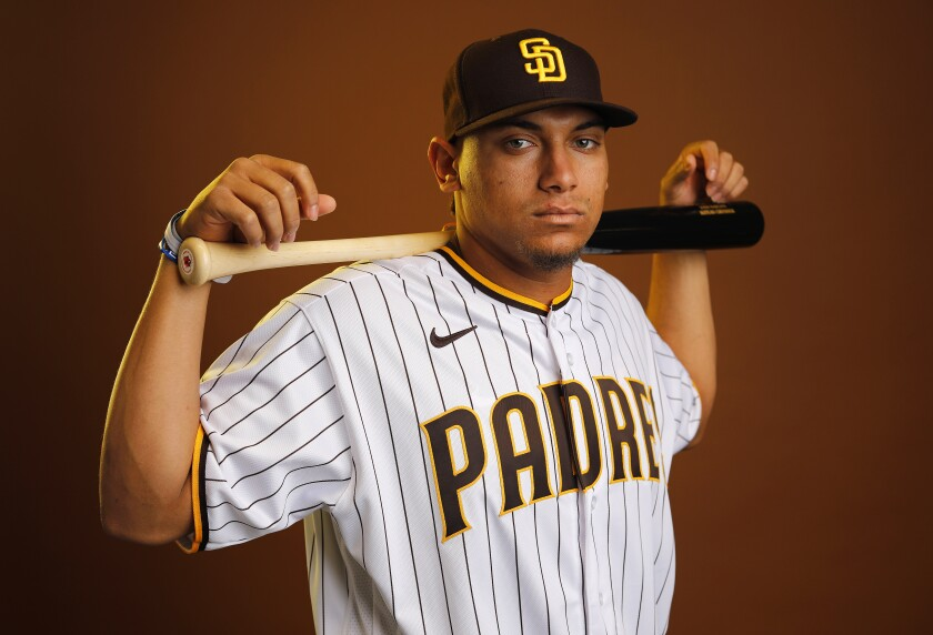 Josh Naylor's bat is likely to get him in the Padres' lineup this season as a designated hitter.