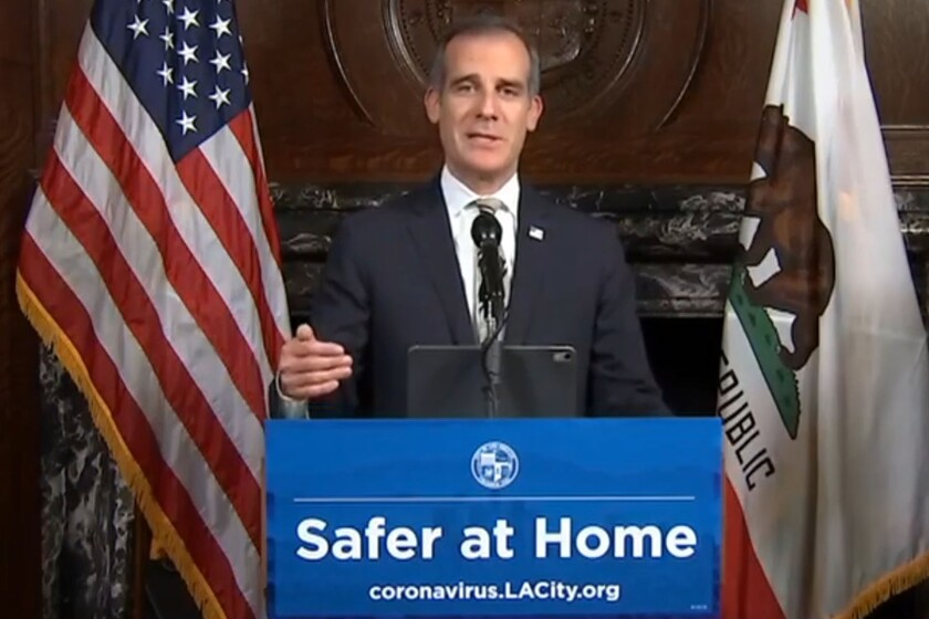 L.A. Mayor Eric Garcetti talks about the drawbacks of sheltering homeless people in hotel rooms during the pandemic without having their health monitored.