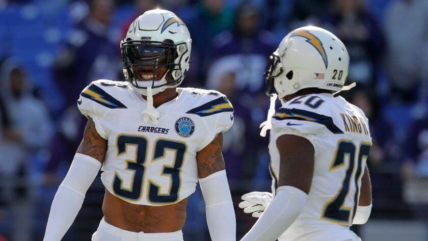 Two All-Pro players, safety Derwin James (33) and cornerback/kick returner Desmond King, were among the reasons the Chargers reached the playoffs in 2018.