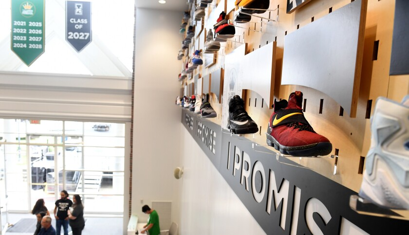 AKRON, OHIO JULY 29TH 2018-The I PROMISE School in Akron, Ohio is lined with LeBron James shoes worn