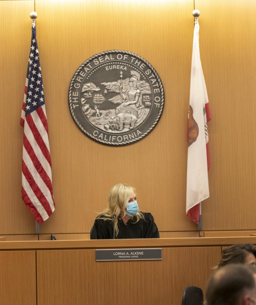Presiding judge Lorna Alskne held the first video court case in San Diego under the new COVID-19 pandemic.