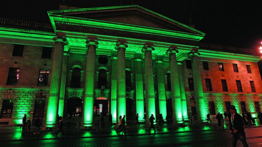 Greening of GPO, O'Connell Street Dublin, for St. Patrick's Festival