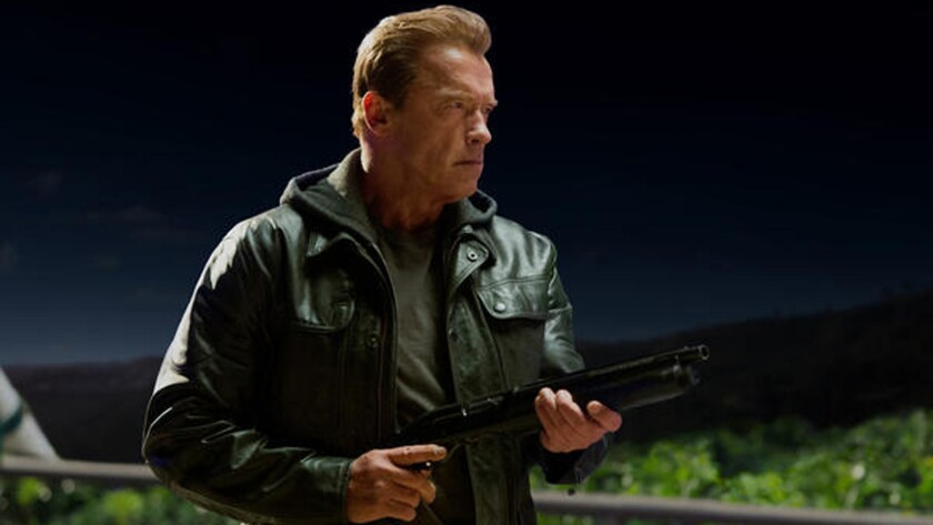 """This photo provided by Paramount Pictures shows Arnold Schwarzenegger as the Terminator in """"Terminator Genisys,"""" from Paramount Pictures and Skydance Productions."""