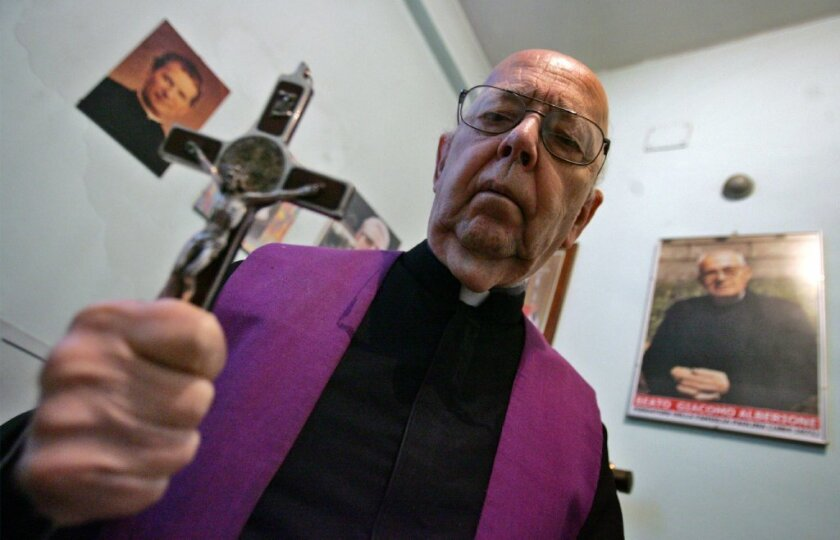 Father Gabriele Amorth, shown in Rome in 2005, performed exorcisms for the Rome Diocese.