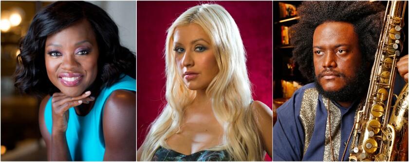 Viola Davis, left, Christina Aguilera and Kamasi Washington