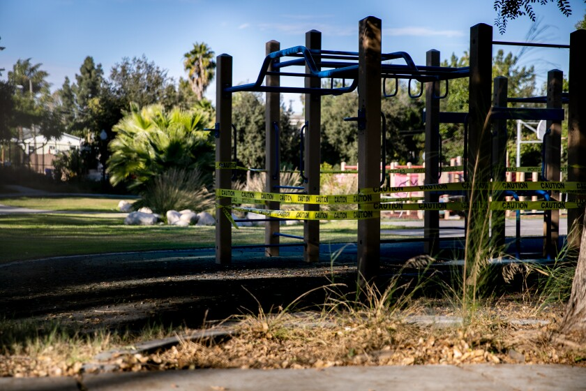 Some of the playgrounds are roped off at Normal Heights Elementary School Nov. 12 in San Diego.