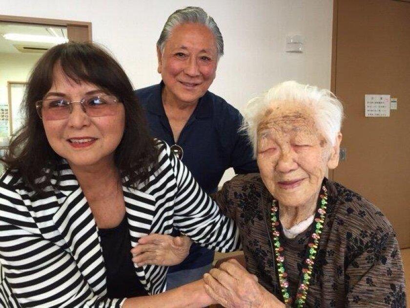 San Marcos residents Gary and Linda Okada Funakoshi with their 113-year-old great-aunt, Kane Tanaka, in Japan.
