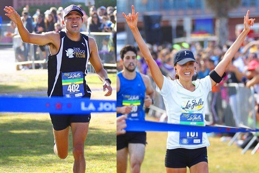 Kosuke Amano wins the men's division of the 2015 La Jolla Half Marathon in 1 hour, 12 minutes, 22 seconds; while Jillian Dyer takes the women's division in 1 hour, 28 minutes, 6 seconds April 26, 2015.