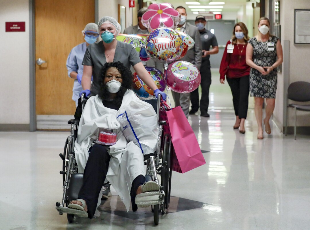 Janice Brown recovered from coronavirus symptoms leaves the Desert Valley Medical Group hospital.