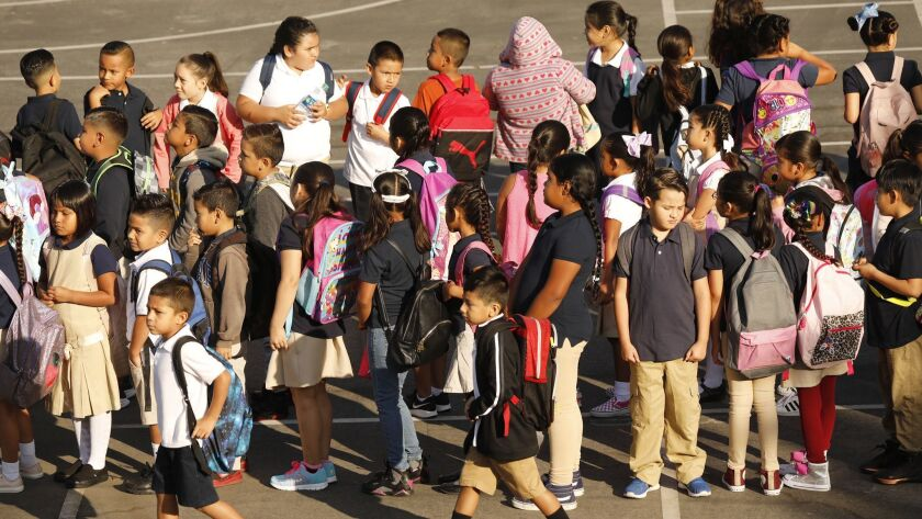LOS ANGELES, CA – AUGUST 14, 2018: Students form lines on the playground as they prepare to go to