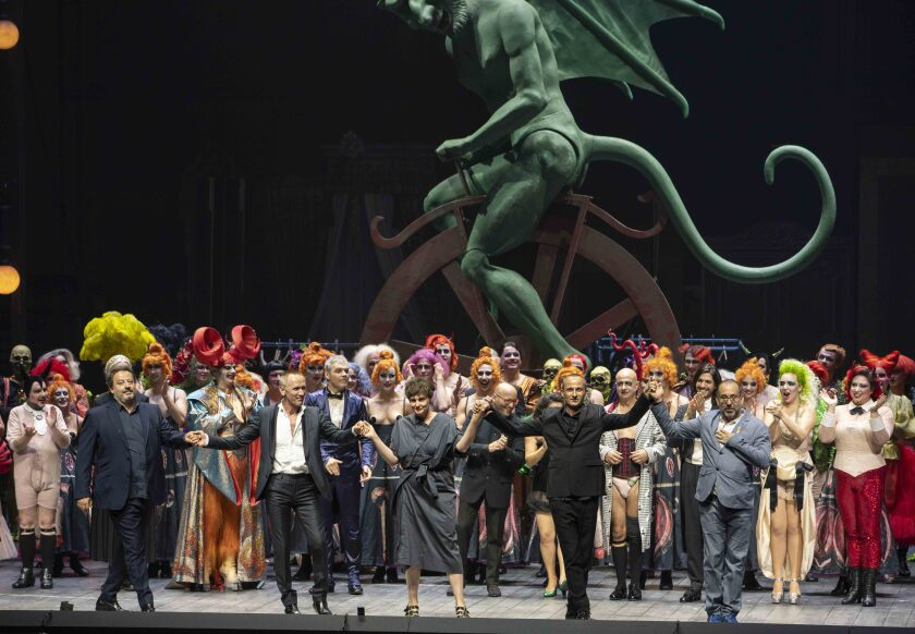 "Director Barrie Kosky takes his bows, far left, at the end of ""Orphée aux Enfers"" at the 2019 Salzburg Festival."