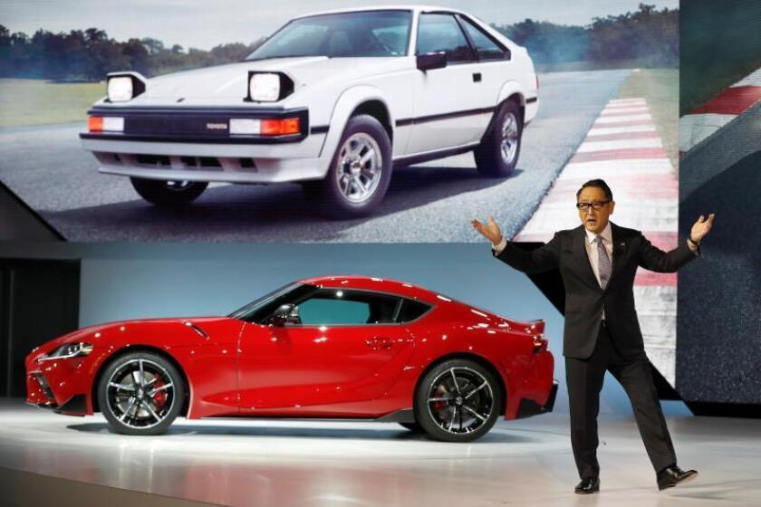 Akio Toyoda, President and Member of the Board of Directors, Toyota Motor Corporation introduces the return of the Toyota GR Supra (Bottom) as an image of the late Supra appears above on screen at the North American International Auto Show at Cobo Center in Detroit, Michigan, USA, 14 January 2019. EPA-EFE/JOHN G. MABANGLO