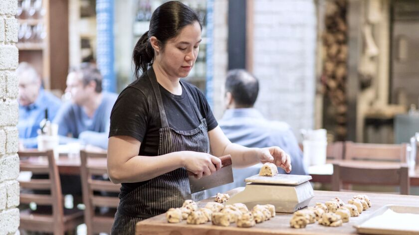 LOS ANGELES, CALIFORNIA - MAR. 20, 2019: Margarita Manzke, chef and co-owner of Republique, bakes ho